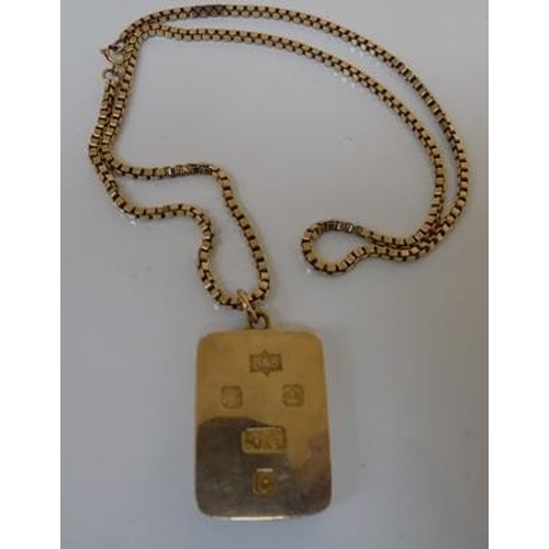 236 - 9ct heavy solid gold ingot on 9ct gold box chain approx 20