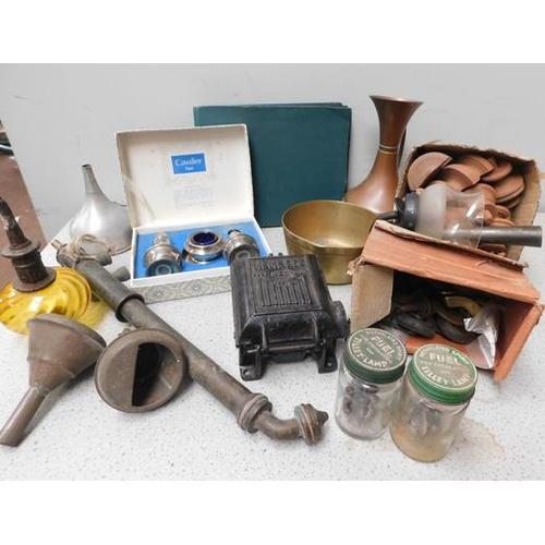 36 - Box of antique & vintage items, brass pan, copper pump, Victorian gas lamp etc...