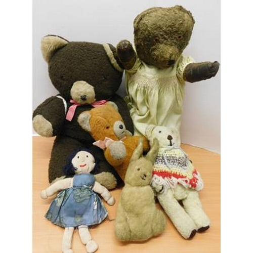 35 - Assortment of vintage and antique teddies and a soft doll...