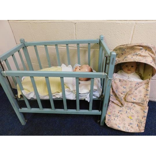 69 - Vintage wooden cot with vintage doll and carry cot with vintage doll...