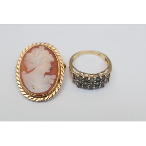3 - 14ct Hallmarked Stone Set Dress Ring 9ct Hallmarked Cameo Pendant. Total Weight 8.70g...
