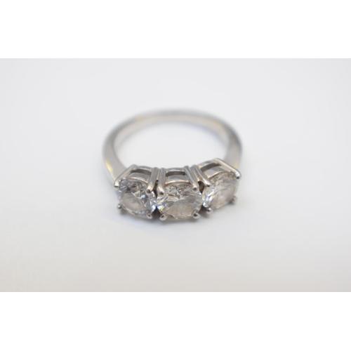 30 - Platinum 3 Stone Diamond Ring. Total Weight 6.70g...