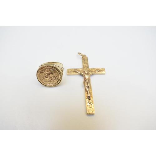 37 - Gents Ring 9Ct Yellow Gold Hallmarked 2.6G Pendant 9Ct Yellow Gold Hallmarked 11.2G. Total Weight 13...