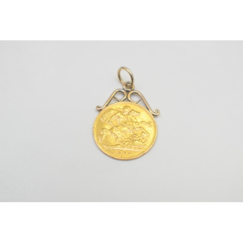 48 - Half Sovereign 1902 Pendant 24Ct Yellow Gold Non-hallmarked 4.5G. Total Weight 4.50g...