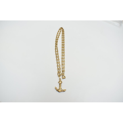 55 - Chain and Anchor Pendant 18Ct Yellow Gold Hallmarked 55.75G. Total Weight 55.75g...