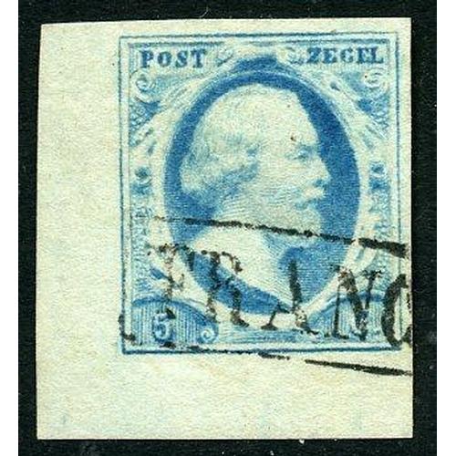 9 - nr.1 blauw pl.V-21 cat.40 pracht hoekstuk met watermerklijn...