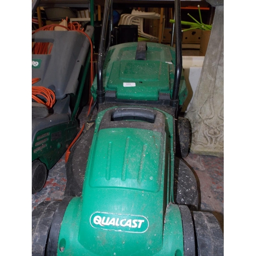 104 - A GREEN QUALCAST ELECTRIC GARDEN MOWER WITH GRASS COLLECTOR W/O...