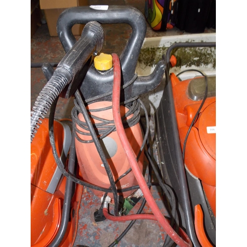 107 - A BLACK AND ORANGE RAC ELECTRIC PRESSURE WASHER WITH HOSE AND LANCE...