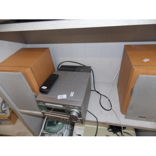 127 - A SILVER SONY DHCMD373 MINI FI-HI SYSTEM WITH MINI DISC, RADIO, TAPE, REMOTE AND TWO MATCHING SPEAKE...