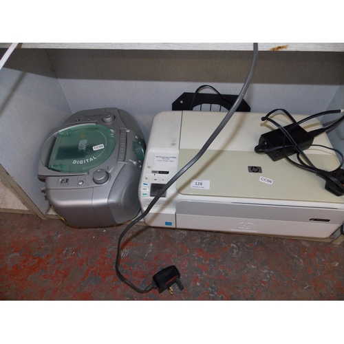 128 - TWO ITEMS - A HP PHOTOSMART, PRINTER SCANNER COPIER AND A SILVER BUSH PORTABLE CD, TAPE RADIO...