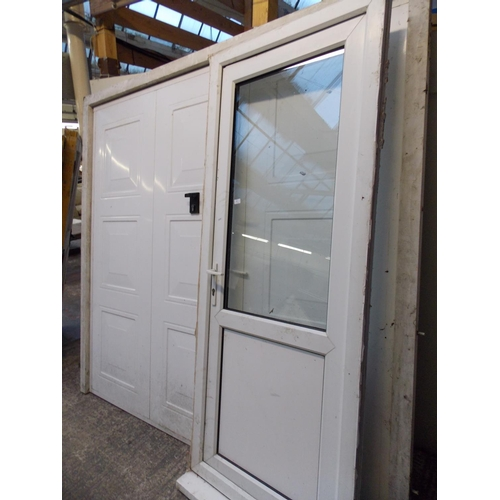 22 - TWO ITEMS - A UPVC DOOR AND FRAME MEASURING APPROX 7FT X 33