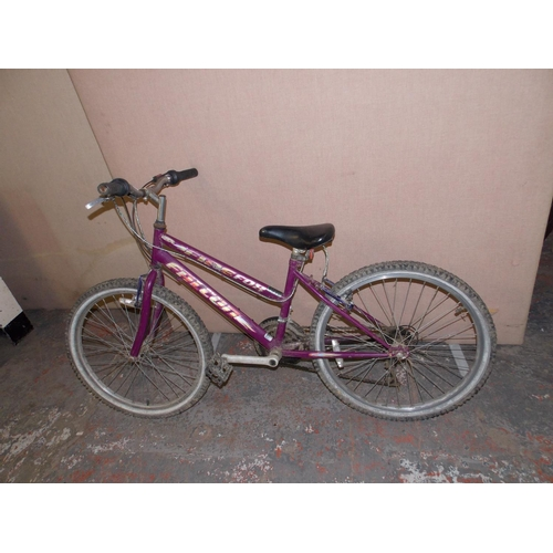 3 - A PURPLE FALCON FIREFOX GIRLS MOUNTAIN BIKE WITH 18 SPEED SUNRISE GEAR SYSTEM...