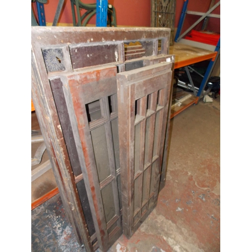 34 - SIX VARIOUS HARDWOOD WINDOWS AND FRAMES SOME WITH STAINED GLASS...