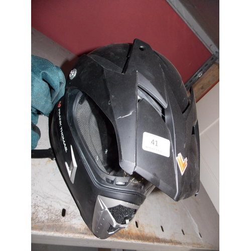 41 - A BLACK FRANK THOMAS MOTORCYCLE HELMET AND CARRIER BAG...