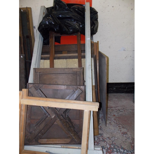 49 - A LARGE SELECTION OF WOOD PANELS - WOOD FRAMES AND SMALL TABLES...