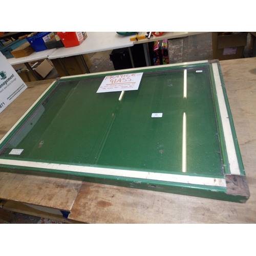 59 - A GREEN PAINTED VINTAGE WOODEN 1930S/1940S CRICKET PAVILION GLASS NOTICE BOARD...