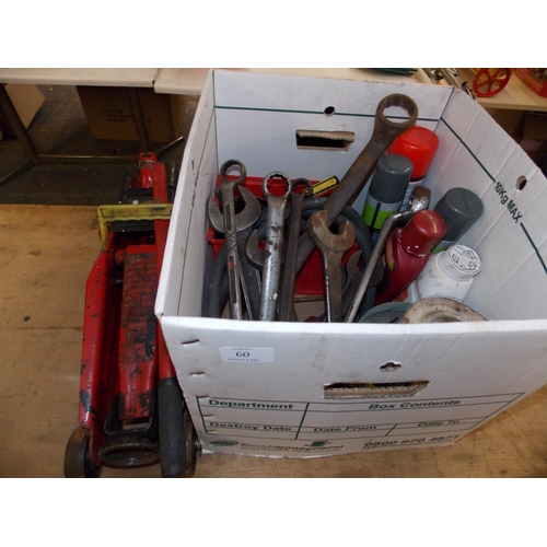 60 - TWO ITEMS - A BOX CONTAINING GOOD QUALITY SPANNERS, CAR PRODUCTS AND A CAR TROLLEY JACK...