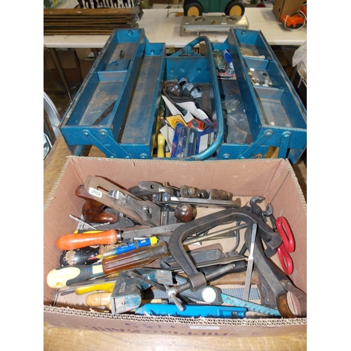 70 - TWO BOXES CONTAINING STANLEY WOOD PLANE, GOOD QUALITY SCREWDRIVERS, G-CLAMP ETC...