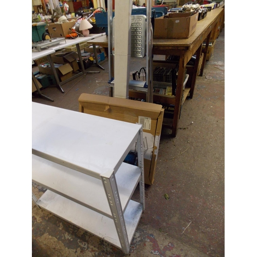 71 - A MIXED LOT OF FIVE ITEMS - ALUMINIUM STEP LADDERS, BOXED TEVION DVD PLAYER, CHALLENGE DRAWING BOARD...