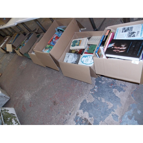 82 - TEN BOXES OF MIXED BOOKS - THE WORLD OF ANTIQUES, BRITISH BATTLES, OXFORD DICTIONARY ETC...