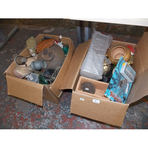 85 - TWO MIXED BOXES CONTAINING GLASSWARE, ORNAMENTS, POTTERY ETC...