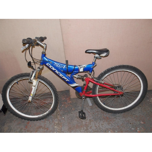 9 - A RED AND BLUE CONCEPT BRONX 2K DUAL SUSPENSION MOUNTAIN BIKE WITH 21 SPEED SHIMANO GEAR SYSTEM...