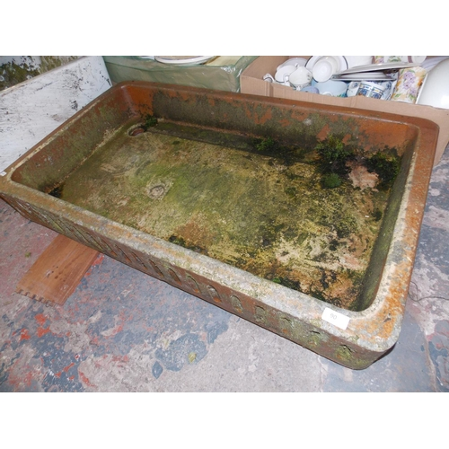 90 - A LARGE SHALLOW SALT GLAZED SINK...