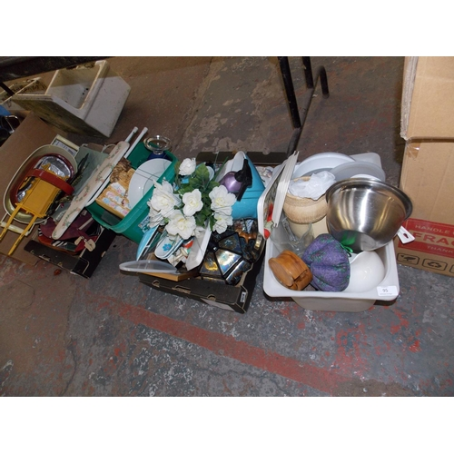 95 - SIX MIXED BOXES CONTAINING KITCHENWARE, CROCKERY, ORNAMENTS ETC...