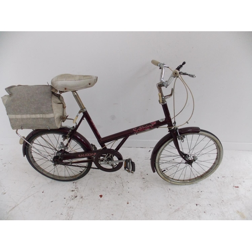 2 - A VINTAGE PURPLE RALEIGH SOLITAIRE LADIES SHOPPING BIKE WITH THREE SPEED STURMEY ARCHER GEAR SYSTEM...