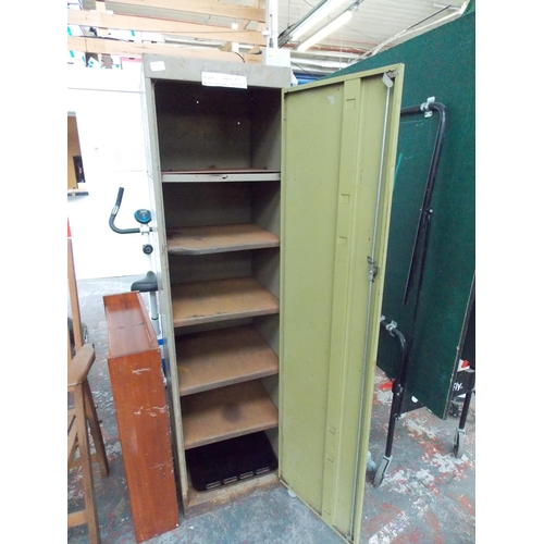 20 - TWO ITEMS TO INCLUDE A SMALL PINE BOOKCASE AND GREY METAL WORKSHOP CABINET WITH INTERNAL SHELVING...