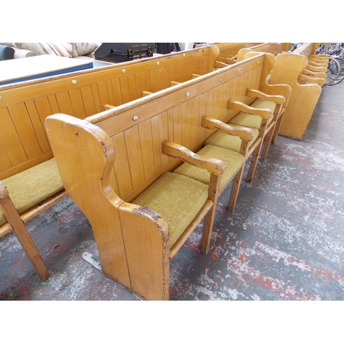 30 - A PAINTED PITCH PINE FIVE SEAT CHURCH PEW. LENGTH APPROX 94 INCHES...