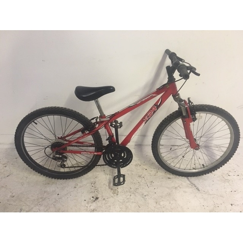 3 - A RED APOLLO XC24 BOYS MOUNTAIN BIKE WITH FRONT SUSPENSION AND EIGHTEEN SPEED SHIMANO GEAR SYSTEM...