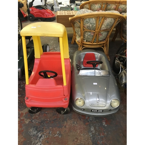 15 - THREE ITEMS TO INCLUDE A RED AND YELLOW LITTLE TIKES RIDE ON CAR, BAG CONTAINING VARIOUS PLASTIC TOY...