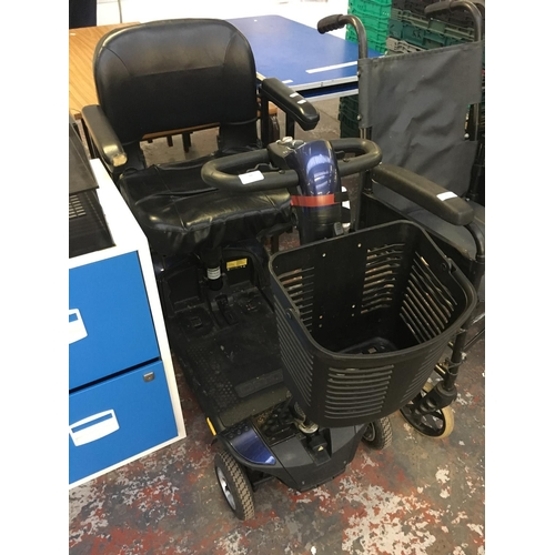 22 - A BLUE GO GO FOUR WHEELED MOBILITY SCOOTER  (NEW BATTERY AND CHARGER IN OFFICE) (W/O)...