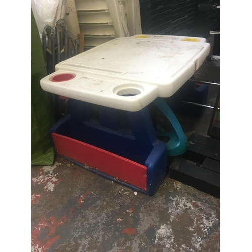 33 - THREE ITEMS TO INCLUDE A STEP2 CHILDS ACTIVITY BENCH, MOTHERCARE BABY SEAT AND A GREEN GO KART...