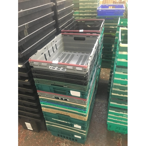 37 - THIRTY ONE VARIOUS COLOURED STACKABLE PLASTIC STORAGE BOXES...