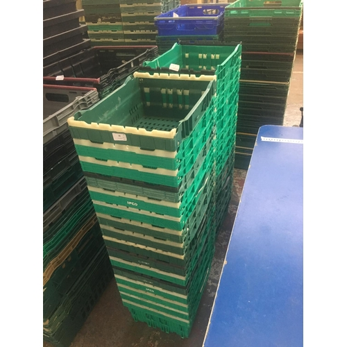 38 - THIRTY TWO SMALL VARIOUS COLOURED STACKABLE PLASTIC STORAGE BOXES...