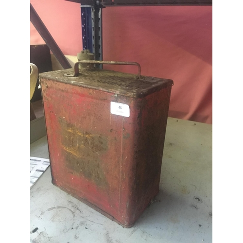 45 - A VINTAGE RED METAL PETROL CAN WITH BRASS TOP...