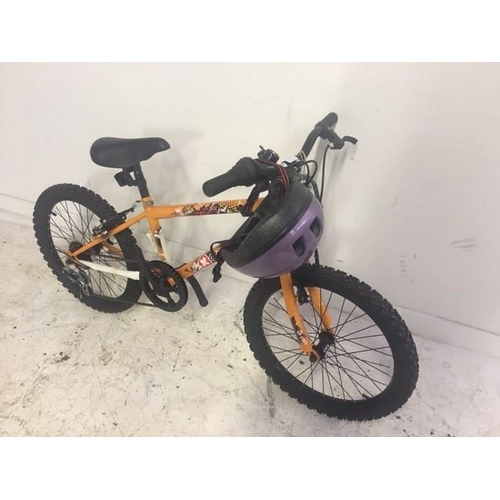 8 - A BLACK AND ORANGE AS NEW COOL X BOYS MOUNTAIN BIKE WITH SIX SPEED SHIMANO GEAR SYSTEM WITH HELMET...