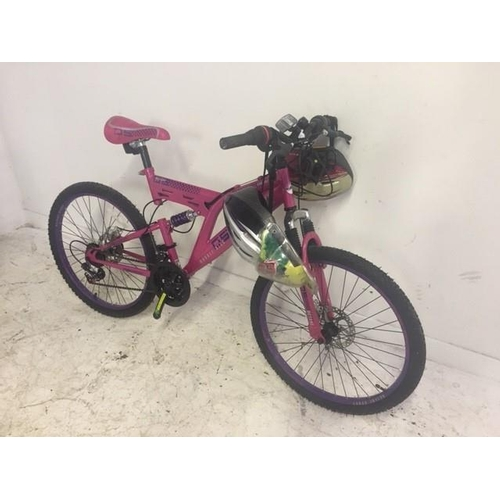 9 - A PURPLE AND PINK AS NEW OCTANE SUNRISE DUAL SUSPENSION MOUNTAIN BIKE WITH EIGHTEEN SPEED INDEX GEAR...