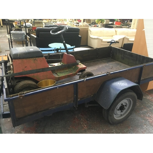 19 - TWO ITEMS TO INCLUDE AN 8ft  x 4ft x 1ft TWO WHEELED CAR TRAILER WITH COIL SUSPENSION, BRAKES AND LI...