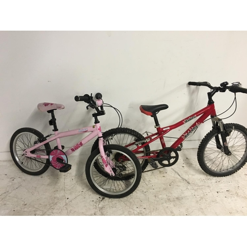 1 - FOUR CHILDS BICYCLES TO INCLUDE A PINK KINX BMX, A RED DOORS RIO TAIL BMX STYLE BIKE WITH SIX SPEED ...