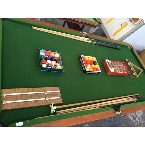 11 - TWO ITEMS TO INCLUDE A GOOD QUALITY OAK 7ft   x 3ft 6in SLATE BED SNOOKER TABLE MADE BY BARBER-HILL ...