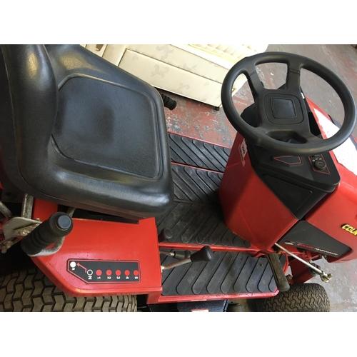17 - A RED COUNTAX (MODEL G300H) HYDROSTATIC RIDE ON LAWN MOWER ROLLER/SWEEPER.  GOOD STARTER, RECENTLY S...