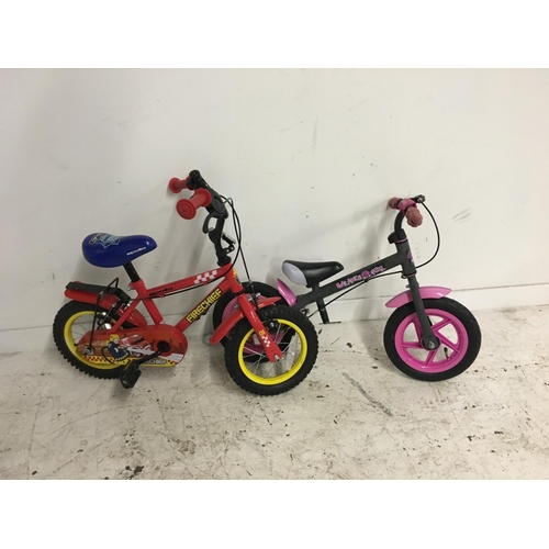 2 - FOUR SMALL CHILDS BICYCLES TO INCLUDE A PINK AND GREY BALANCE BIKE, A RED APOLLO FIRECHIEF BMX AND A...