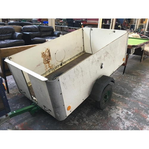 20 - A 6ft x 3ft 6in  x 2ft ALUMINIUM AND PLYWOOD CAR TRAILER WITH LAMP BOARD AND TWO SPARE WHEELS...