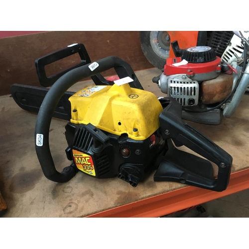 35 - A BLACK AND YELLOW MCCULLOCH (MODEL MAC335) PETROL CHAINSAW WITH 14 INCH BAR (W/O)...