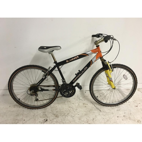 4 - A BLACK, ORANGE AND GREY APOLLO SLAMMER GENTS MOUNTAIN BIKE WITH FRONT SUSPENSION AND EIGHTEEN SPEED...
