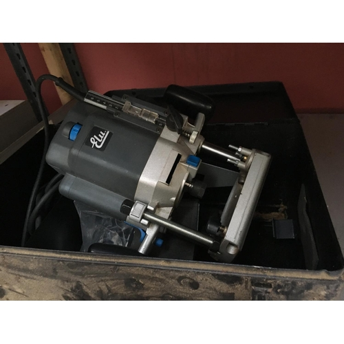 45 - A BLACK METAL CASE CONTAINING ELU (MODEL 177E) ELECTRIC ROUTER AND ATTACHMENTS...