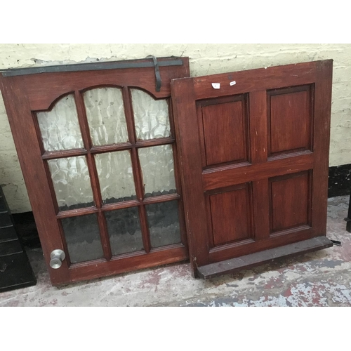 49 - A HARDWOOD HOUSE STABLE DOOR WITH GLASS PANELLED TOP SECTION MEASURING APPROX 77 X 30 Inches...